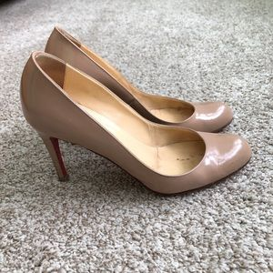 Christian Louboutin Nude Patent Round Toe Heels